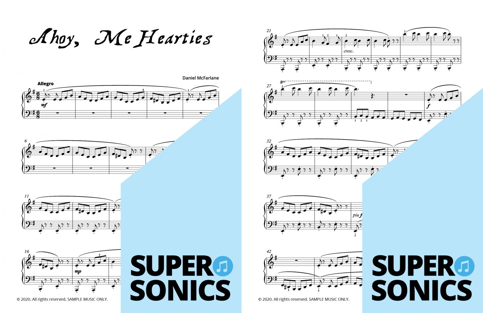 Supersonics Piano A Pirate's Tale sample
