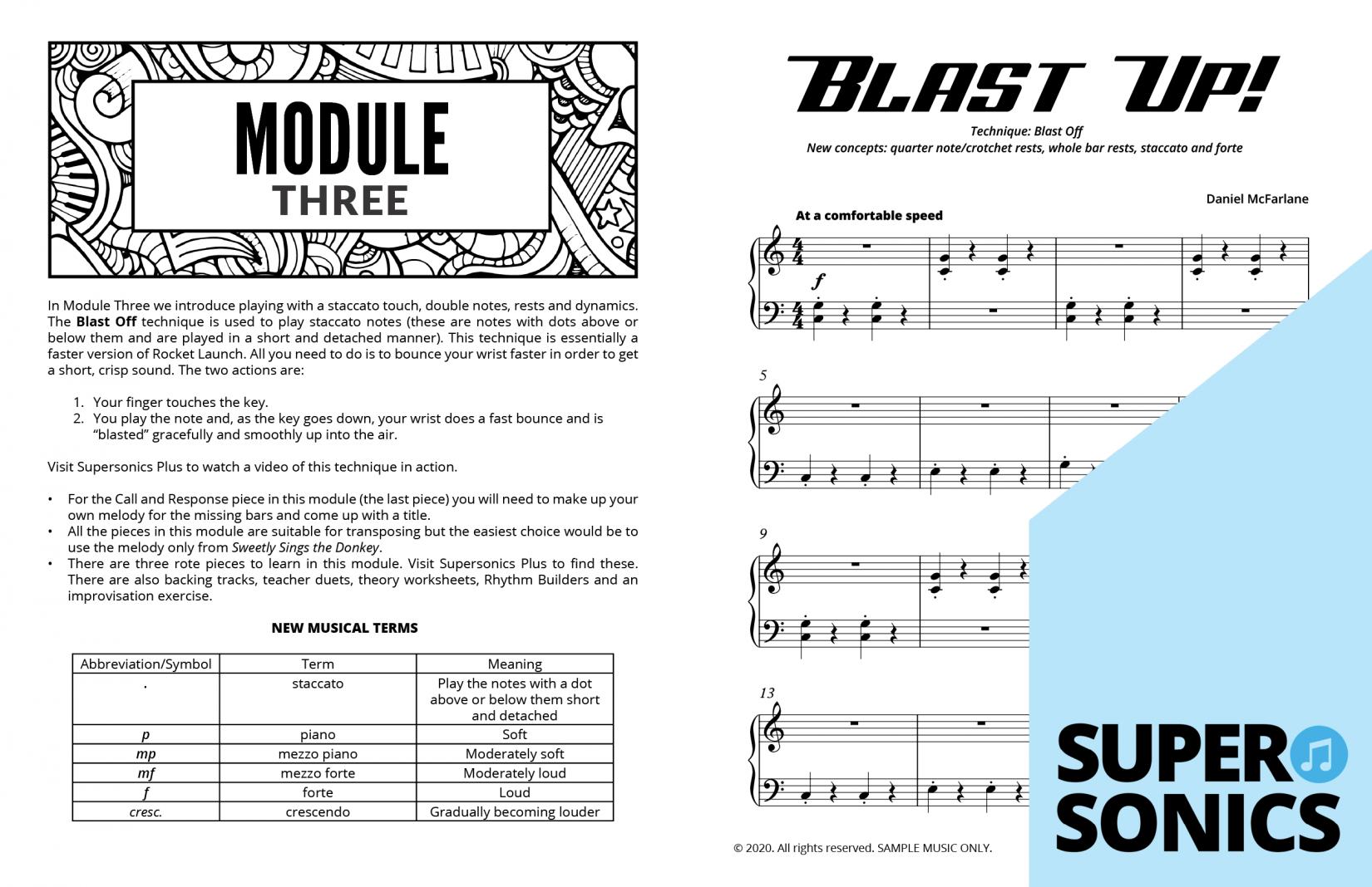 Supersonics Piano Method Module 3 sample