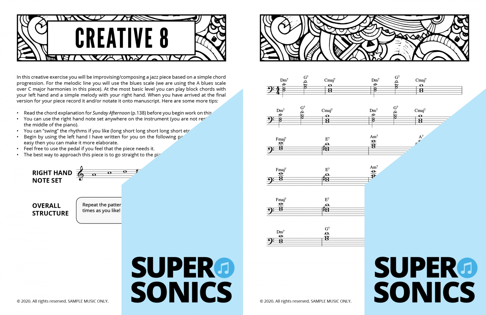 Supersonics Piano Method Level 3 Creative Exercises sample