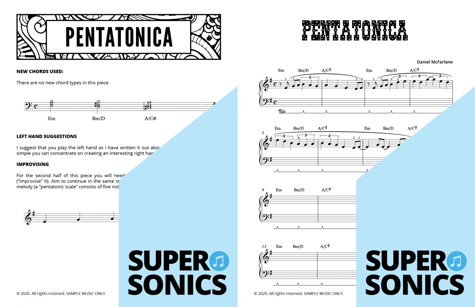 Supersonics Piano Method Quick Start B Chords sample