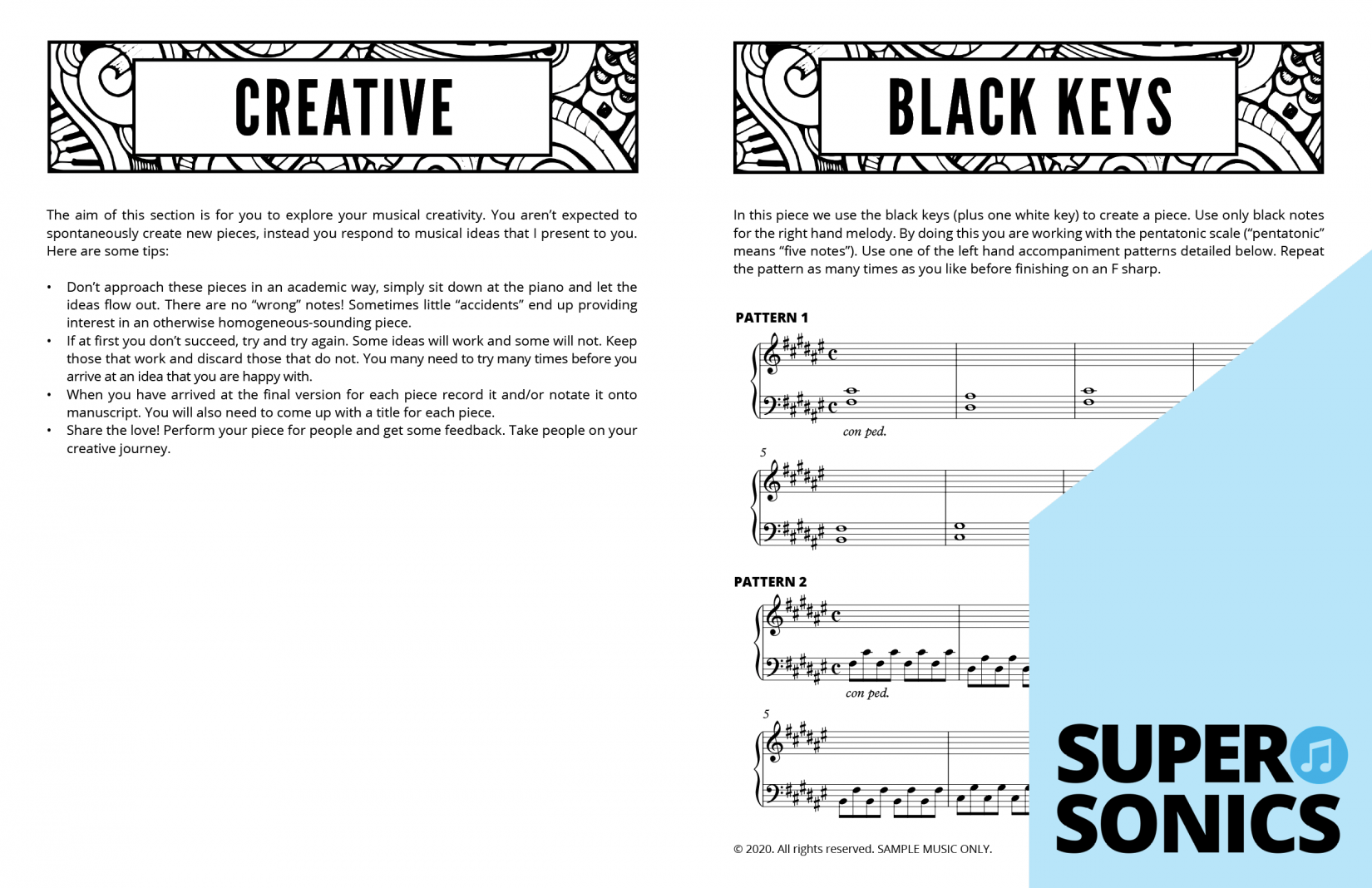 Supersonics Piano Method Level 4 Creative Exercises sample