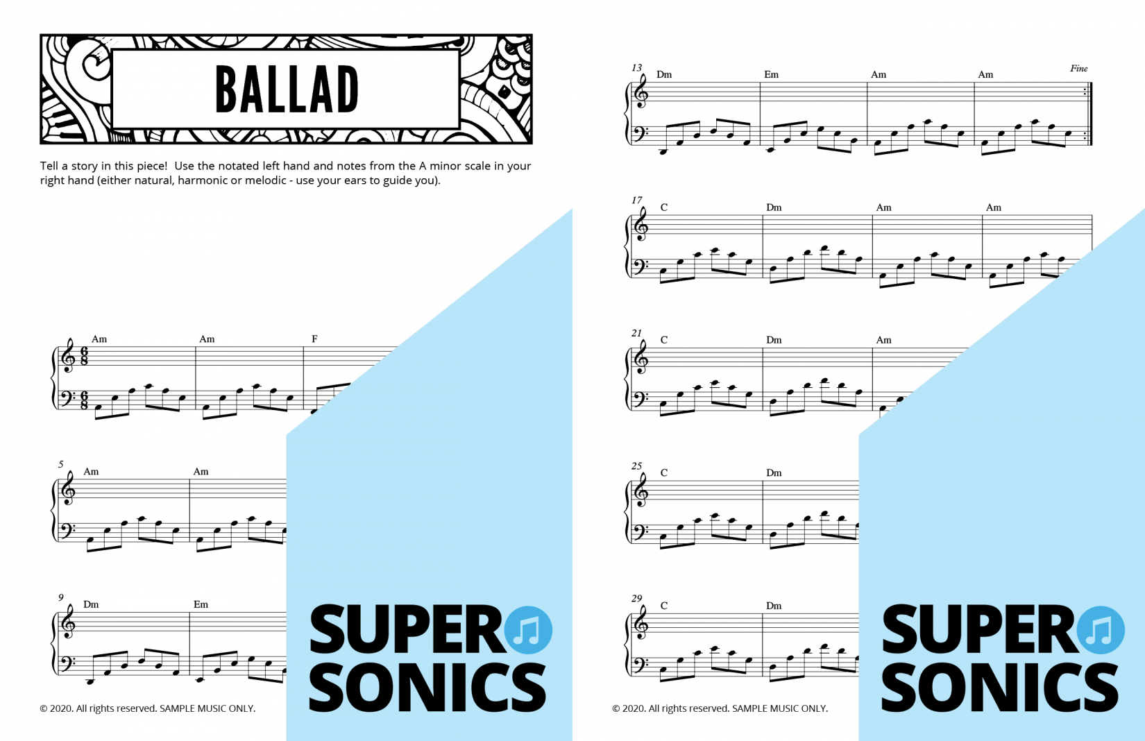 Supersonics Piano Method Level 5 Creative Exercises sample