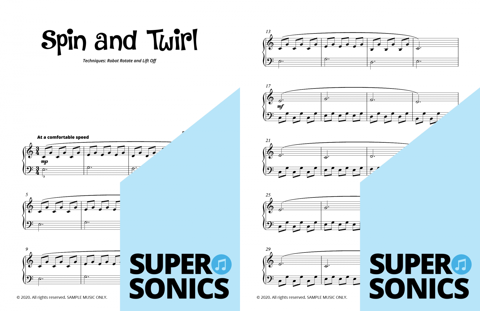 Supersonics Piano Method Reading and Technique sample